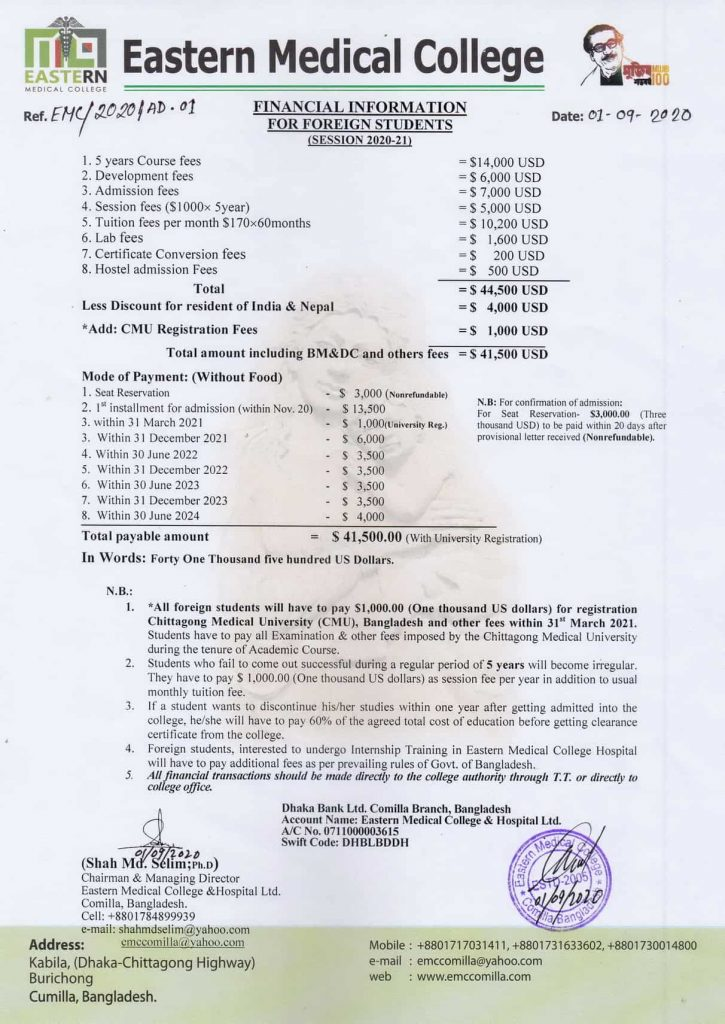 Eastern Medical College Fees for Indian Students